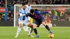 Recio pelea con Aleñá durante el Barcelona – Leganés. (EFE)