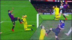 El momento en el que Luis Suárez remata a portería en el segundo gol del Barcelona.