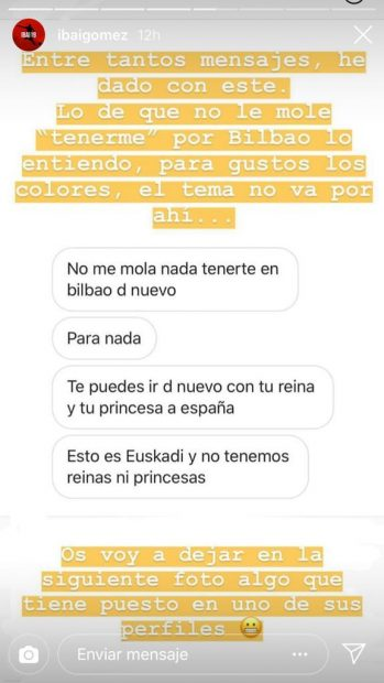 El zasca de Ibai Gómez al aficionado que le pide irse «con tu reina y tu princesa a España»