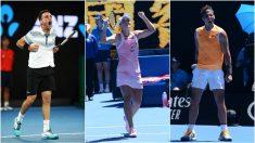 Roberto Bautista, Ashlegh Barty y Rafael Nadal. (Getty)