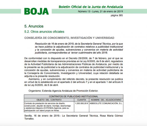 La Junta destinó el día de la investidura de Moreno 1,2 millones a publicidad de sus 'embajadas'
