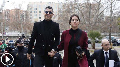 El futbolista del la Juventus de Milán, Cristiano Ronaldo, acude s a la Audiencia de Madrid acompañado de Georgina Rodríguez, a ratificar el pacto al que llegó con Hacienda para zanjar la acusación de la Fiscalía por defraudar 14,7 millones entre lo