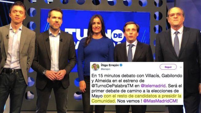 Errejón demuestra en Twitter no saber con quién se enfrenta en las elecciones autonómicas
