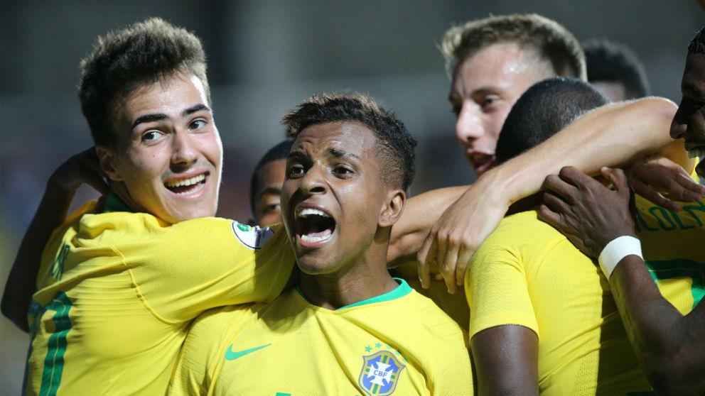 Rodrygo Goes, en la celebración de un gol