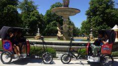 Mototaxis en el Parque de El Retiro.