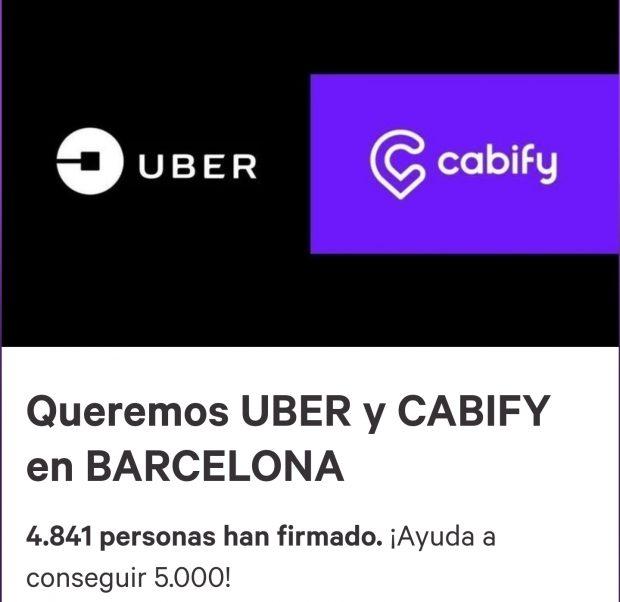 Los barceloneses recogen 5.000 firmas en dos horas para que Cabify y Uber sigan en la Ciudad Condal