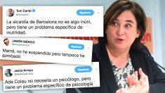 """La alcaldesa de Barcelona, Ada Colau, y los tuits que ridiculizan su contradicción: """"Barcelona no es una ciudad insegura, pero tiene un problema de seguridad específico""""."""