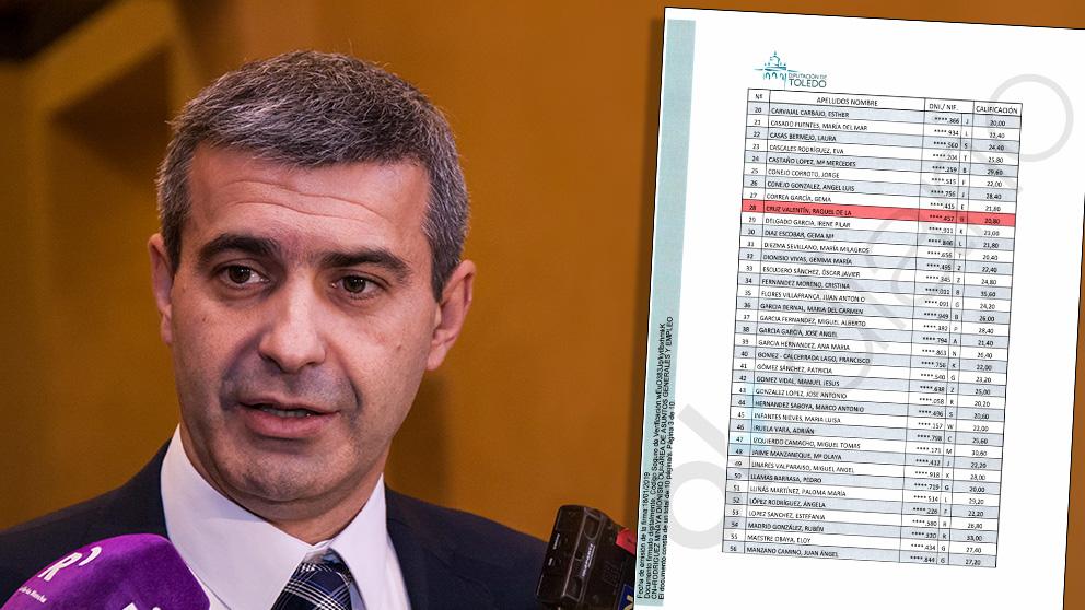 El presidente de la Diputación de Toledo, Álvaro Gutiérrez Prieto (PSOE), y la lista de aprobados. (Foto: EP/OKDIARIO)