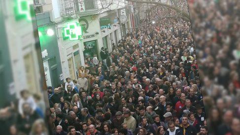 Imagen de la manifestación del jueves por la tarde en defensa de Almaraz.