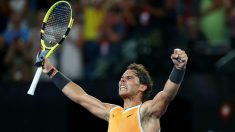 Nadal celebra su victoria ante Tsitsipas. (Getty)