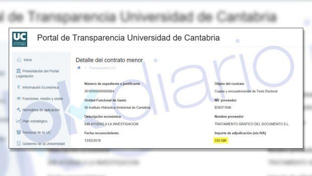 La Universidad de Cantabria paga los tomos de las tesis y los colegios profesionales con dinero público