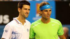 Novak Djokovic y Rafa Nadal durante la final del Abierto de Australia 2012. (Getty)