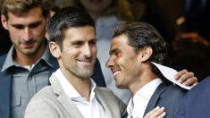 Novak Djokovic y Rafa Nadal coincidieron en el palco del Bernabéu en 2016.