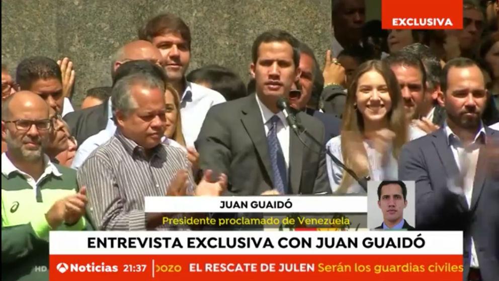 Juan Guaidó concede a Antena 3 su primera entrevista con un medio de comunicación español.