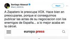 Tuit publicado este viernes por el presidente de Vox, Santiago Abascal.