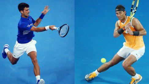 Djokovic y Nadal disputan la final del Open de Australia 2019. (Getty)
