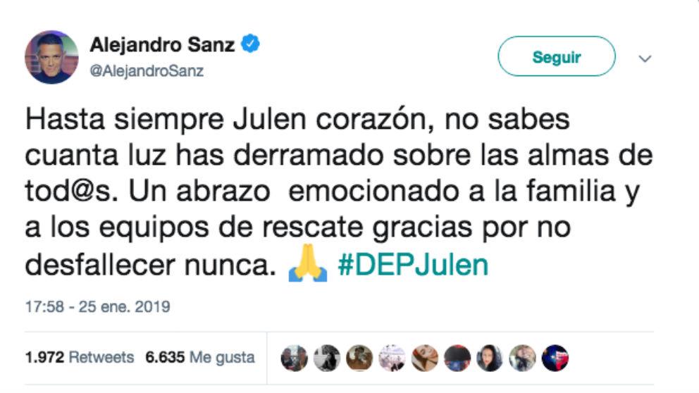 Mensaje publicado por el cantante Alejandro Sanz.