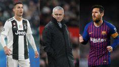 Cristiano Ronaldo, José Mourinho y Leo Messi.