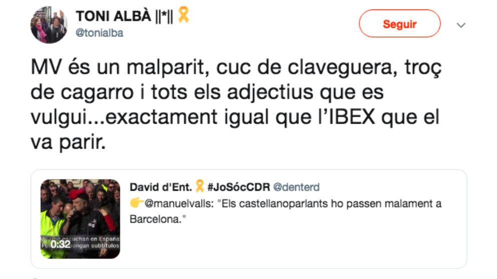 Mensaje publicado por el actor de TV3 Toni Albà sobre el candidato a la Alcaldía de Barcelona Manuel Valls.