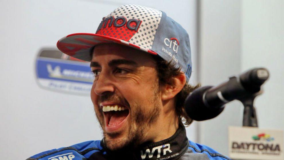 Fernando Alonso, en el circuito de Daytona. (Twitter)
