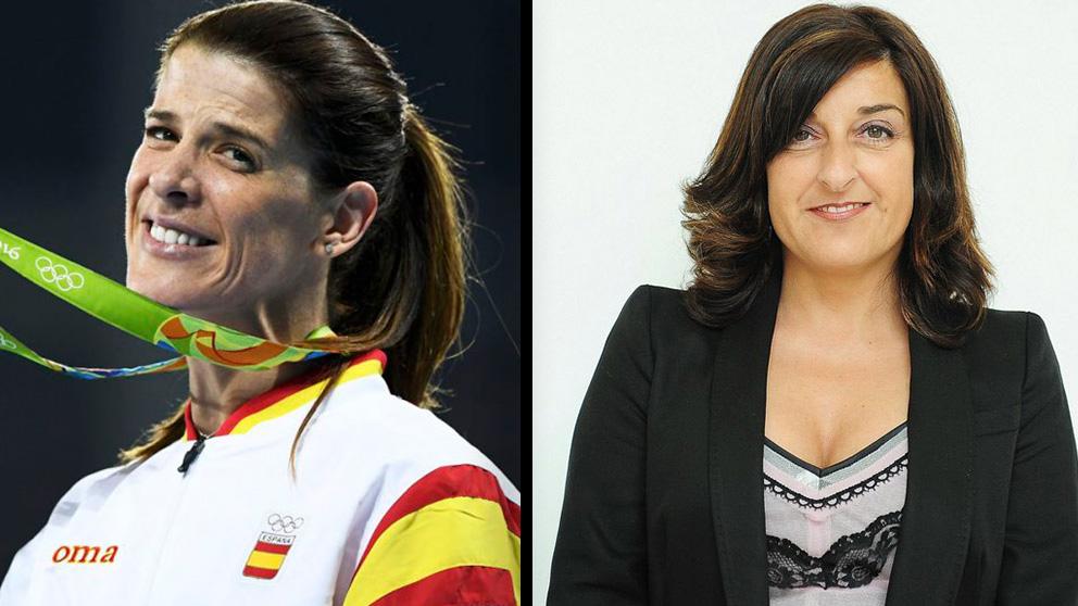 La atleta Ruth Beitia y la presidenta del PP de Cantabria, María José Sáenz de Buruaga.