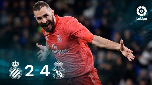 Benzema, autor de un doblete ante el Espanyol.