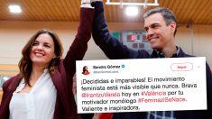 Sandra Gómez y Pedro Sánchez, en un mitin este domingo en Valencia. (Foto: EFE/OKDIARIO).