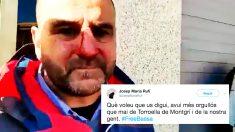 El concejal de Ciudadanos agredido en Torroella de Montgrí, Sergio Atalaya, y el tuit del alcalde de la localidad gerundense