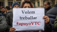 Concentración de VTC en Barcelona. Foto: Europa Press