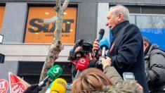 Conductores VTC concentrados en la calle Ferraz. Foto: Europa Press
