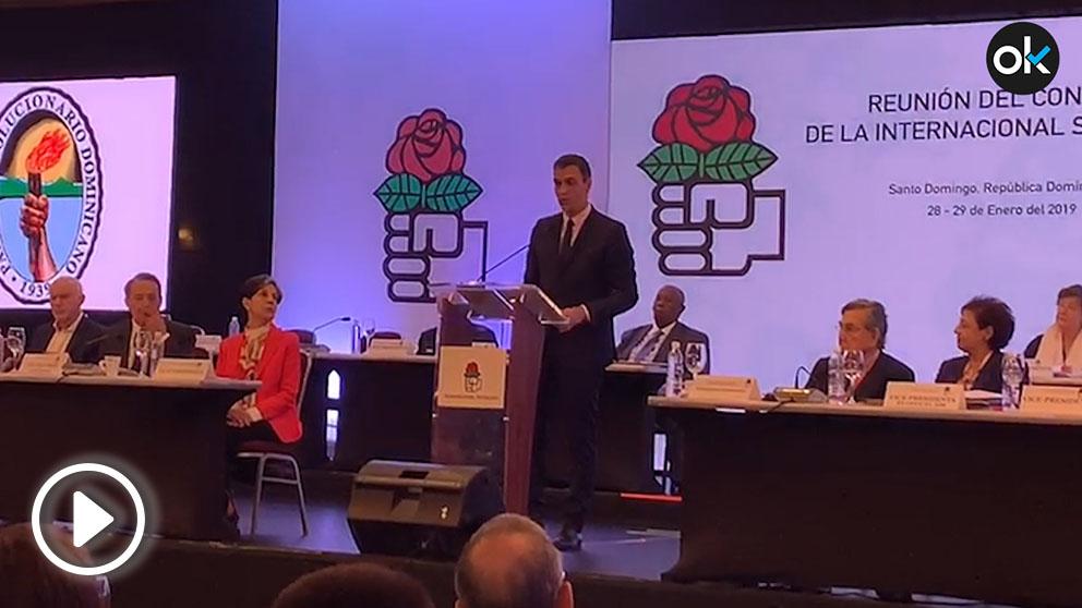 El presidente del Gobierno, Pedro Sánchez, en Santo Domingo