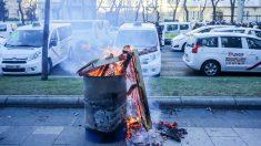 Desalojo de taxistas en el Paseo de la Castellana. Foto: Europa Press