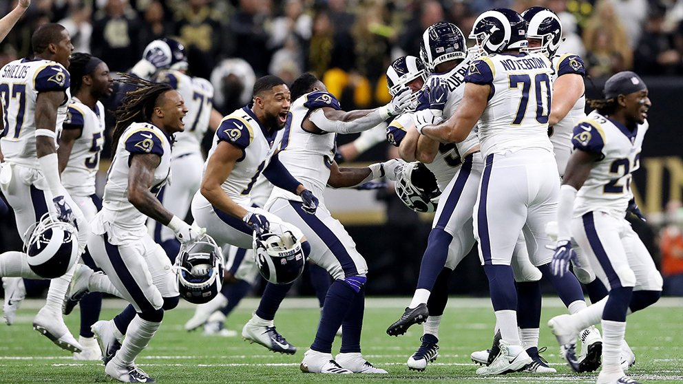 Los Angeles Rams celebran su pase a la Super Bowl 2019. (Getty)
