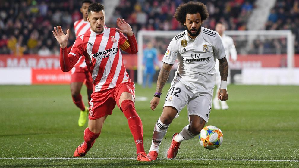 Marcelo, en el partido contra el Girona en Copa del Rey.
