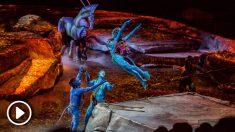 Un momento del espectáculo «Toruk, el primer vuelo», montaje creado por el Cirque du Solei, puesto en escena esta noche en el Wizink Center en Madrid.