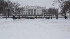 Imagen de la Casa Blanca nevada (AFP).