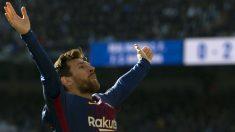 Messi celebra un gol en el Bernabéu. (AFP)