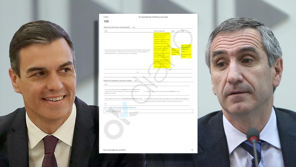 Pedro Sánchez, Javier Vallés y la ficha de SánchezPlag de la página 186 de la tesis del presidente.