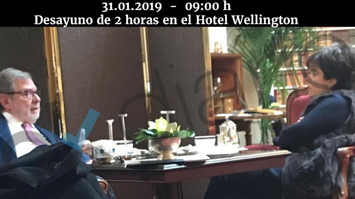 Juan Luis Cebrián y Soraya Sáenz de Santamaría, este jueves por la mañana en el hotel Wellington.
