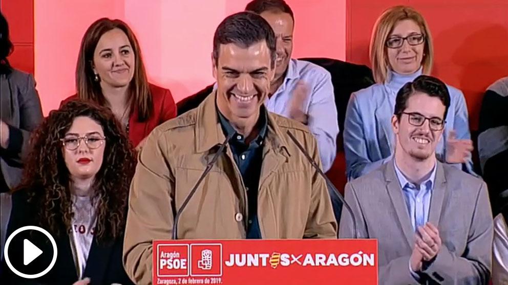 Pedro Sánchez en un mitin en Zaragoza.