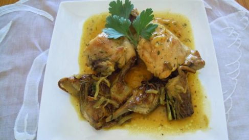 Receta de alcachofas con pollo