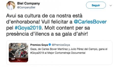 El presidente del PP de Baleares, Biel Company, felicita a los directores del documental «Gaza» que piden el boicot contra Israel.
