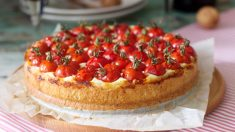 Receta de tarta de queso y tomate