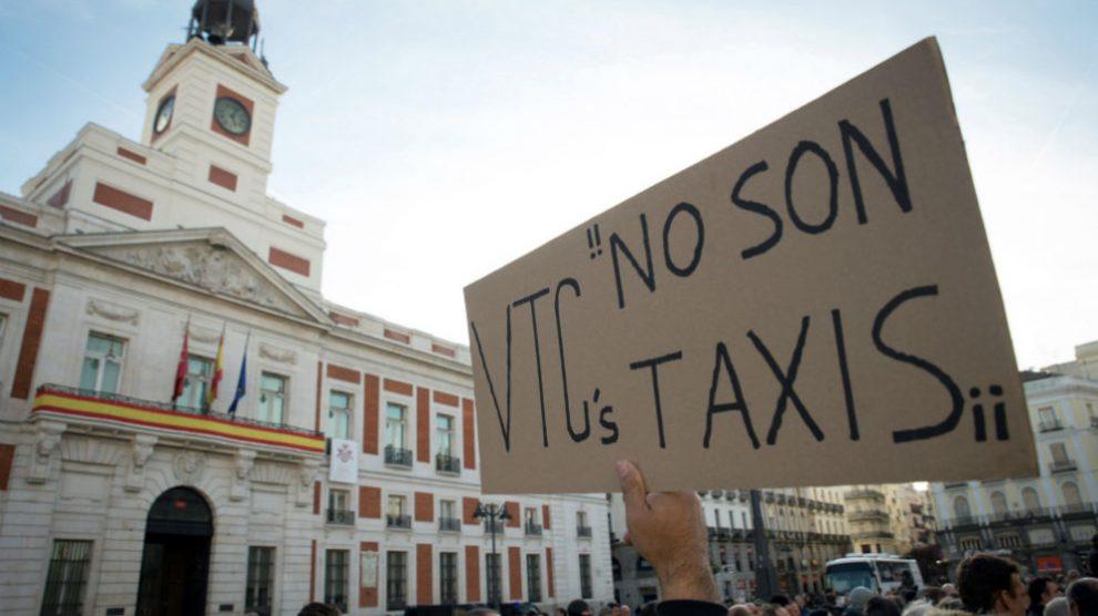 Manifestación de taxistas en la Puerta del Sol