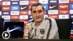 Ernesto Valverde durante la rueda de prensa previa al Clásico. (fcbarcelona.cat)