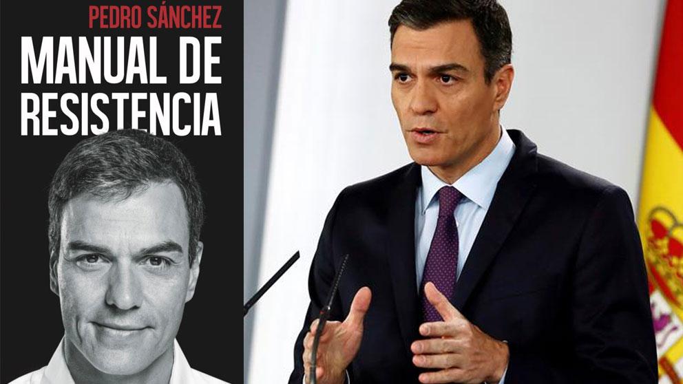 El presidente de Gobierno, Pedro Sánchez, junto a la portada de su libro.