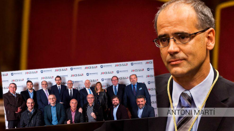 El presidente del Gobierno de Andorra, Antoni Martí, junto al equipo directivo de la empresa concesionaria del casino, JOCS SA.