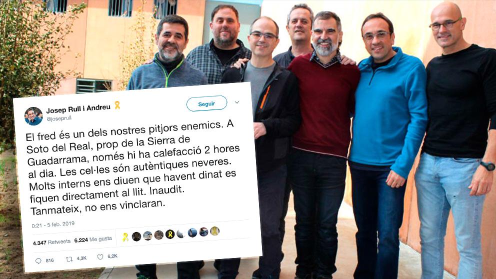 Josep Rull denuncia que las celdas de Soto del Real son «autenticas neveras».