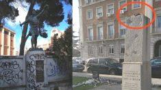Pintadas en la escultura de Nuñez de Balboa y el monolito de Isabel la Católica