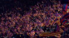 Los aficionados del Barcelona ondearon banderas en el Clásico de Copa del Rey frente al Real Madrid.
